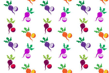 colorful beetroot set pattern seamless of purple, pink, red and yellow, vector illustration Illusztráció