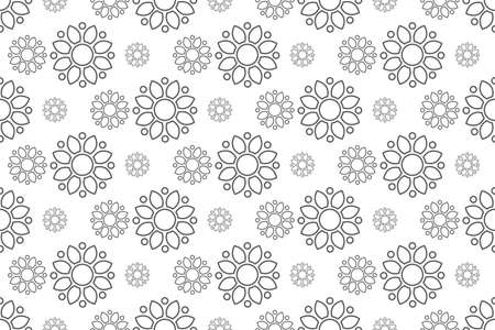 outline floral pattern seamless, flora vector illustration backdrop Reklamní fotografie - 128702067
