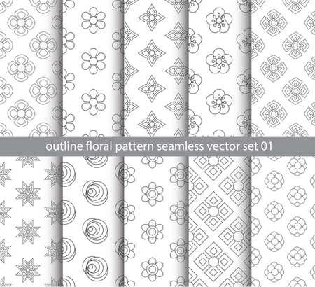 gray floral pattern seamless vector set for fabric, textile, decorate backdrop and gift paper background design