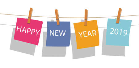 happy new year word on note paper hanging with wood clip on rope, shadow on white background, vector
