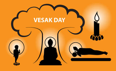 Vesak Day concept with worship born, Enlightenment and nirvana or death of Buddha, vector silhouette