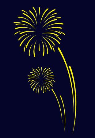 fireworks vector sign icon on black blue background for celebration design Vektoros illusztráció