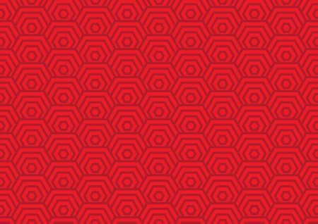 chinese hexagon spiral pattern seamless, red art swirling background vector