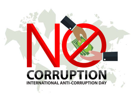 no corruption sign day with hand of businessman sent dollar under stop sign on world map Stock Illustratie