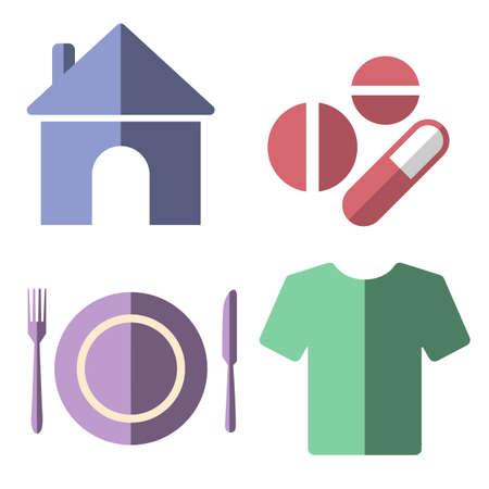 4 basic human needs flat icon set
