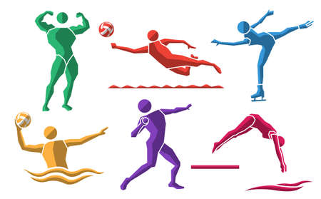 colorful sport flat icon set 08