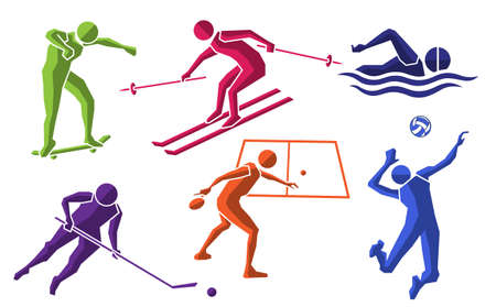 colorful sport flat icon set 04