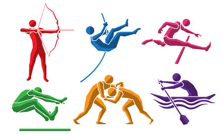 colorful sport flat icon set 07