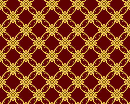 golden Thai pattern seamless vector art on dark red background, illustration texture for decoration Reklamní fotografie - 150514637