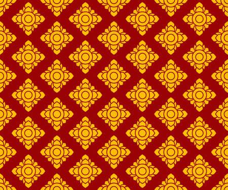 golden Thai pattern seamless vector art on dark red background, illustration texture for decoration Ilustrace