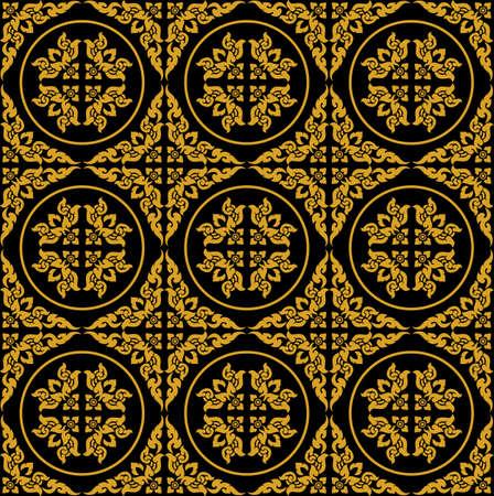 golden Thai pattern seamless vector art Ilustrace