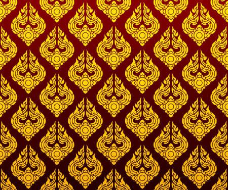 golden Thai pattern seamless vector art on dark red background Ilustrace