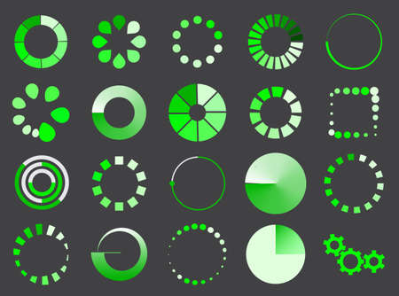 green loading sign icon set for internet upload and download symbol Imagens - 150515072
