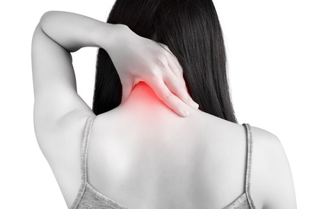 remedial: Acute pain and sore throat symptom in a woman isolated on white background.