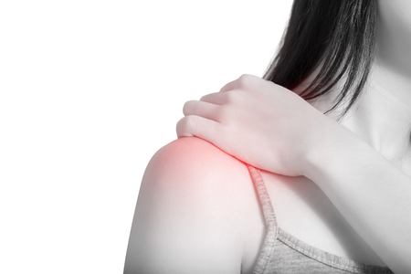 remedial: Backache or Painful shoulder in a woman isolated on white background. Stock Photo