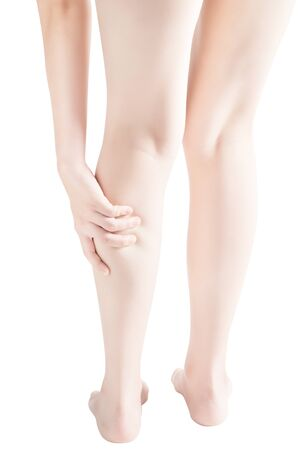 remedial: Acute pain in a woman  calf leg isolated on white background.