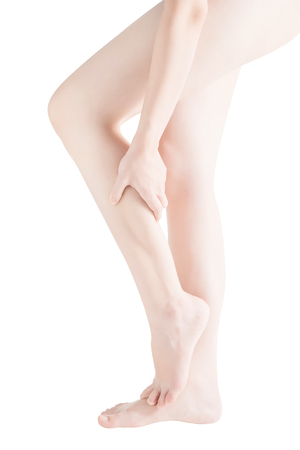 Acute pain in a woman  calf leg isolated on white background.