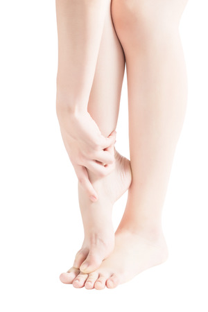 Acute pain in a woman  ankle isolated on white background.