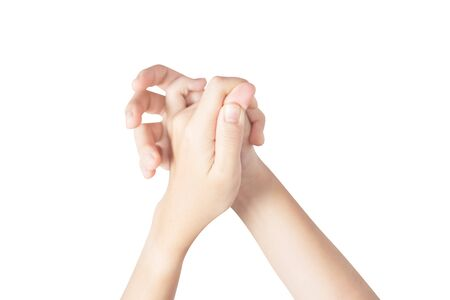Acute pain in a woman finger isolated on white background.