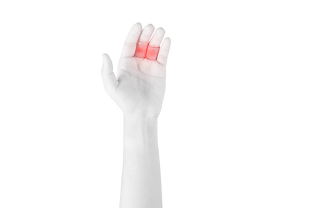 Acute pain in a woman finger isolated on white background. Clipping path on white background Stock Photo