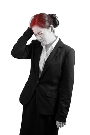 Headache symptom in a businesswoman isolated on white background. Clipping path on white background