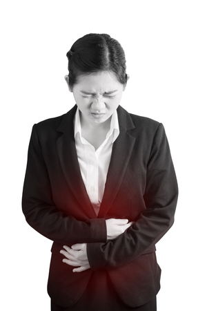 constipation symptom: Stomachache in a woman isolated on white background. Clipping path on white background
