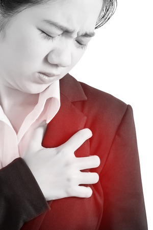 Chest pain or asthma in a woman isolated on white background. Clipping path on white background