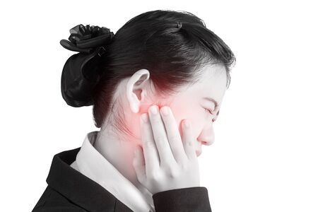 remedial: Toothache symptom in a woman isolated on white background. Clipping path on white background