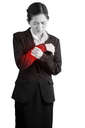 Acute pain in a woman wrist isolated on white background. Clipping path on white background Stock Photo