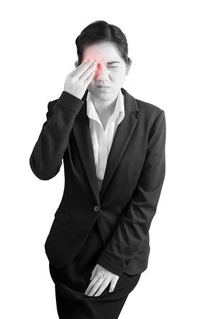 without people: Eyes pain and eyes strain in a woman isolated on white background. Clipping path on white background