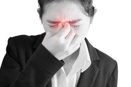contagion: Nose pain symptom in a woman isolated on white background. Clipping path on white background