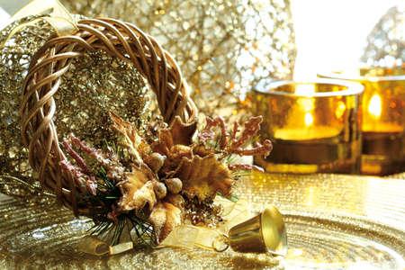 x mas decorate Gold  Theme, Stock Photo