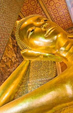 The head of the  giant Buddha at wat Pho Stock Photo
