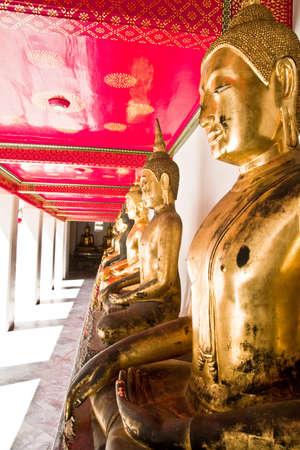 The Row of Golden Buddha Stock Photo