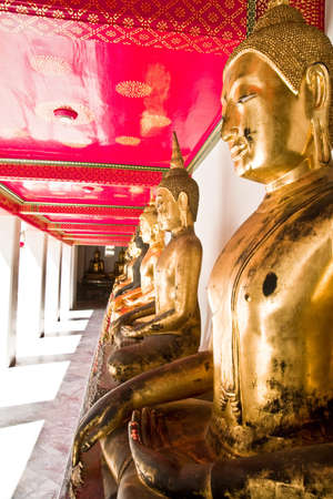 The Row of Golden Buddha Stock Photo
