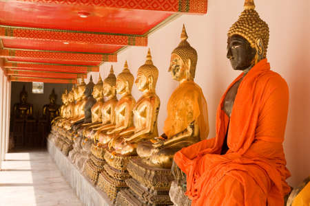 Buddha image at Wat Pho , Thailand  Stock Photo
