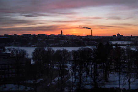 Nice view of sunrise in the morningin winter with snow in Stockholm Sweden