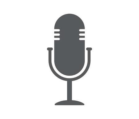 Microphone icon. Podcast radio icon on white background. Vector illustration.