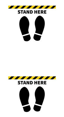 Social distancing. Footprint sign for stand in supermarket. Keep the 2 meter distance. Coronovirus epidemic protective. Vector illustration