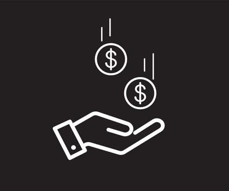 Dollar in hand icon. Save money icon. Vector illustration.
