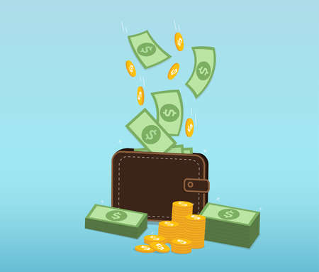 Money and Coins falling into a leather wallet. income, savings money, Business success Concept. vector illustration Ilustracja