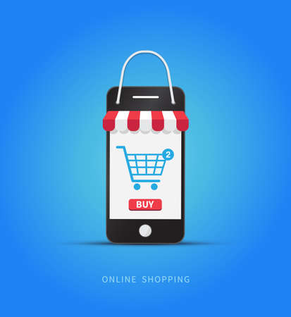Online shopping with smartphone. E-commerce concept. Vector illustration