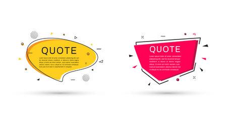 Quote frames templates. Speech bubble textbox. Flat design. Vector illustration Ilustrace