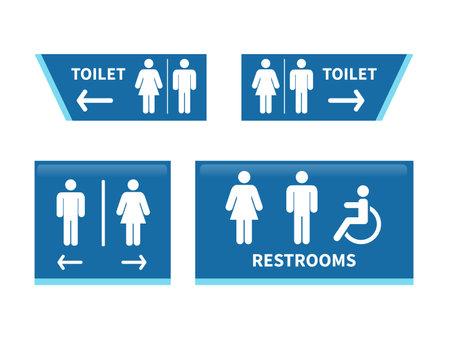 Set toilet signs. Men and women restroom icon. vector illustration Иллюстрация