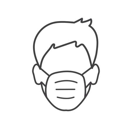 Man wear a face mask icon isolated on white background. COVID-19 epidemic protective. Vector illustration.