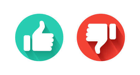 Thumb Up and Thumb Down icon. Like and dislike icon on white background. Vector illustration.
