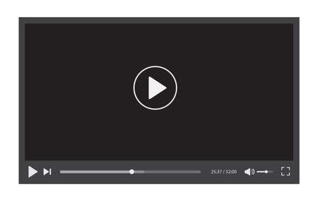 Video player interface isolated on white background. Video streaming template design for website and mobile apps. Vector illustration Vettoriali