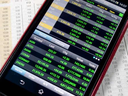 touchscreen smartphone met de beurs toepassing