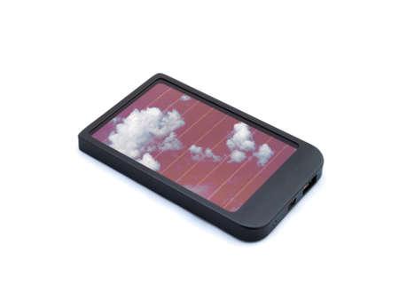 Zonnelader voor mobiele telefoons geïsoleerd