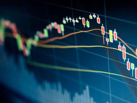 Led 画面に株式市場のチャート 写真素材